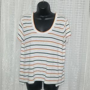 Madewell Scoop Neck Cotton Tee Shirt Rainbow
